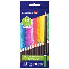 Карандаши художественные цветные пастельные BRAUBERG ART CLASSIC, 12 цветов, грифель 4 мм, 181535