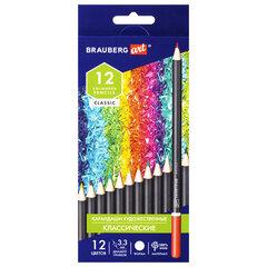 Карандаши художественные цветные BRAUBERG ART CLASSIC, 12 цветов, МЯГКИЙ грифель 3,3 мм, 181536