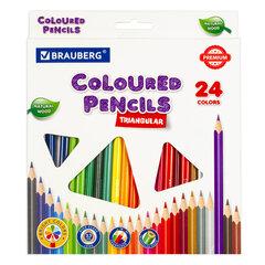 Карандаши цветные BRAUBERG PREMIUM, 24 цвета, трехгранные, грифель мягкий 3,3 мм, 181653