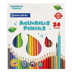 Карандаши цветные акварельные BRAUBERG PREMIUM AQUARELLE, 24 цвета, грифель мягкий 4 мм, 181673