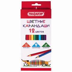"""Карандаши цветные ПИФАГОР """"Веселая такса"""", 12 цветов, классические, заточенные, 181806"""