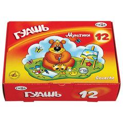 "Гуашь ГАММА ""Мультики"", 12 цветов по 20 мл, без кисти, картонная упаковка, 221032"