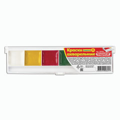 Краски акварельные ПИФАГОР, 6 цветов, медовые, без кисти, пластиковая коробка, 190293
