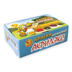 """Краски акриловые """"Акрилэкс"""", 6 цветов по 20 мл, в баночках, 24-6.20-50"""