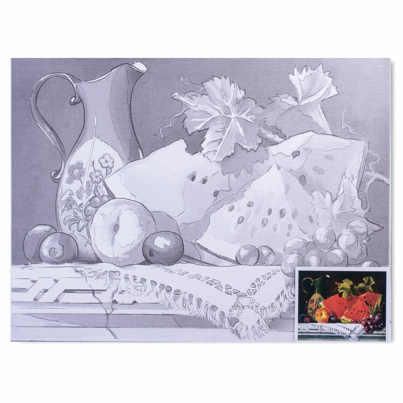 Холст на картоне с контуром BRAUBERG ART CLASSIC, НАТЮРМОРТ, 30х40см, грунтов., 100% хлопок, 190626