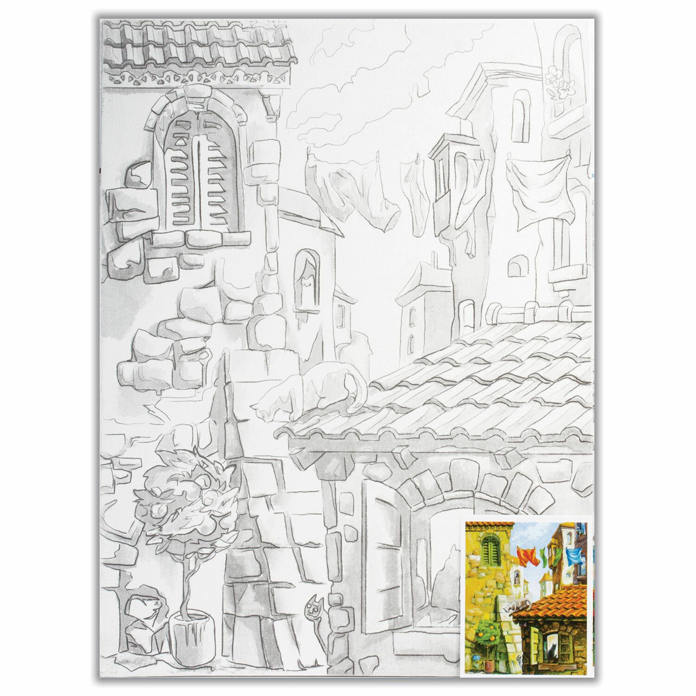 Холст на картоне с контуром BRAUBERG ART CLASSIC, ГОРОДА, 30х40см, грунтованный, 100% хлопок, 190630