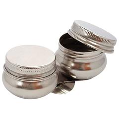 Масленка металлическая двойная с крышкой, диаметр 4,2 см, высота 2 см, DK11008