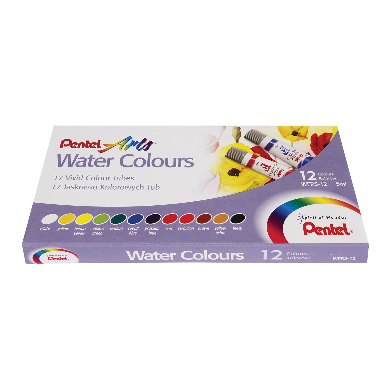 """Краски акварельные художественные PENTEL """"Water Colours"""", НАБОР 12 цветов, туба 5 мл, картонная упаковка, WFRS-12"""