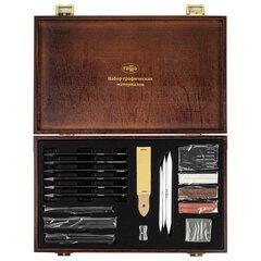 """Набор графических материалов ГАММА""""Студия"""", 31 предметов, в деревянном коробе, 0909214"""