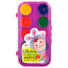 """Краски акварельные ГАММА """"Малыш Naturals"""", 10 цветов, без кисти, пластиковая коробка, 216002"""
