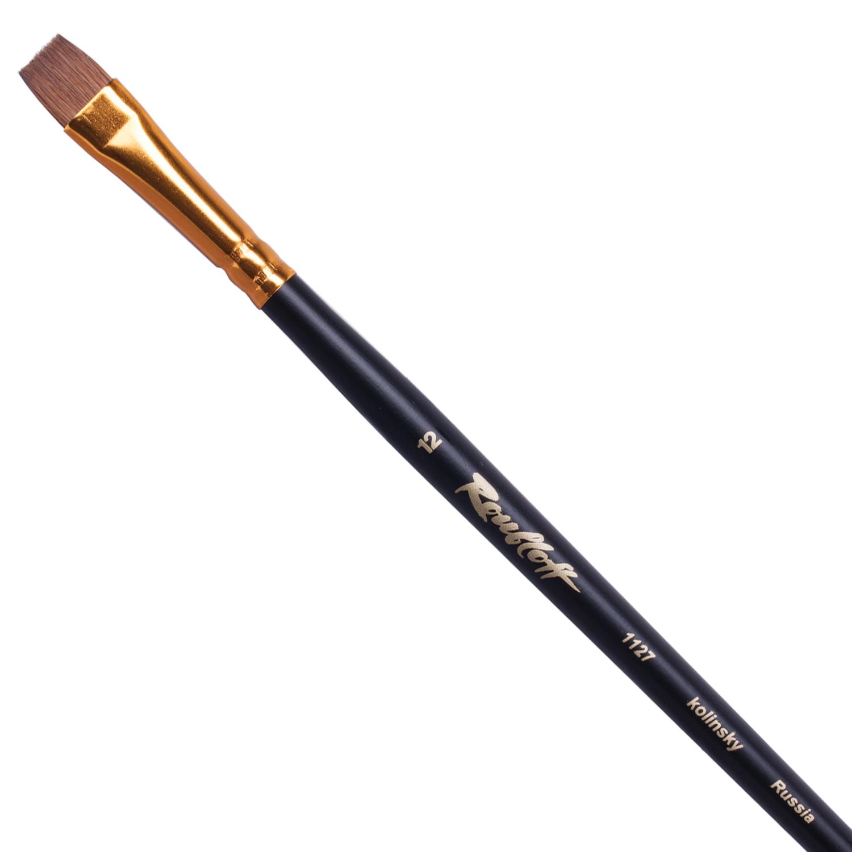 Кисть художественная ROUBLOFF (Рублев) колонок, плоская, №12, длинная ручка, ЖК2-12,07Ж
