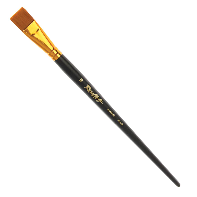 Кисть художественная ROUBLOFF (Рублев), синтетика, под колонок, плоская, № 18, короткая ручка, ЖS2-18,05Ж