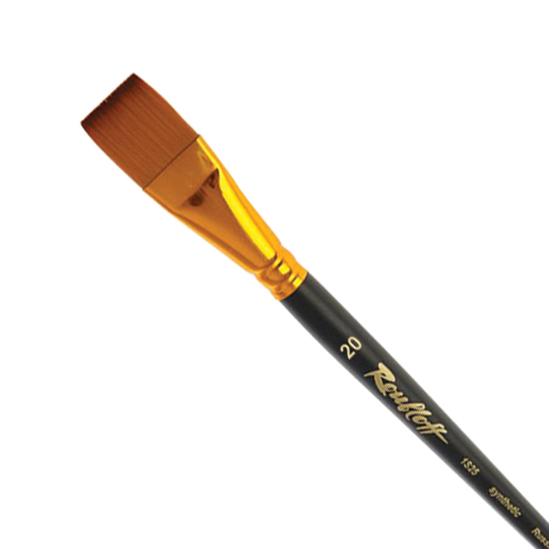 Кисть художественная ROUBLOFF (Рублев), синтетика, под колонок, плоская, № 20, короткая ручка, ЖS2-20,05Ж