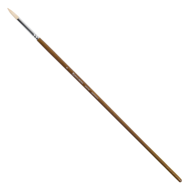 Кисть художественная профессиональная BRAUBERG ART CLASSIC, щетина, круглая, № 4, длинная ручка