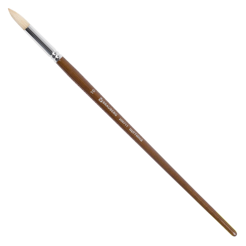Кисть художественная профессиональная BRAUBERG ART CLASSIC, щетина, круглая, № 10, длинная ручка