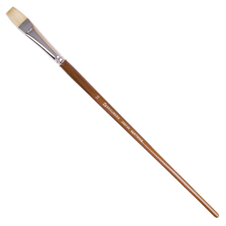 Кисть художественная профессиональная BRAUBERG ART CLASSIC, щетина, плоская, № 16, длинная ручка