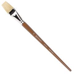 Кисть художественная профессиональная BRAUBERG ART CLASSIC, щетина, плоская, № 30, длинная ручка