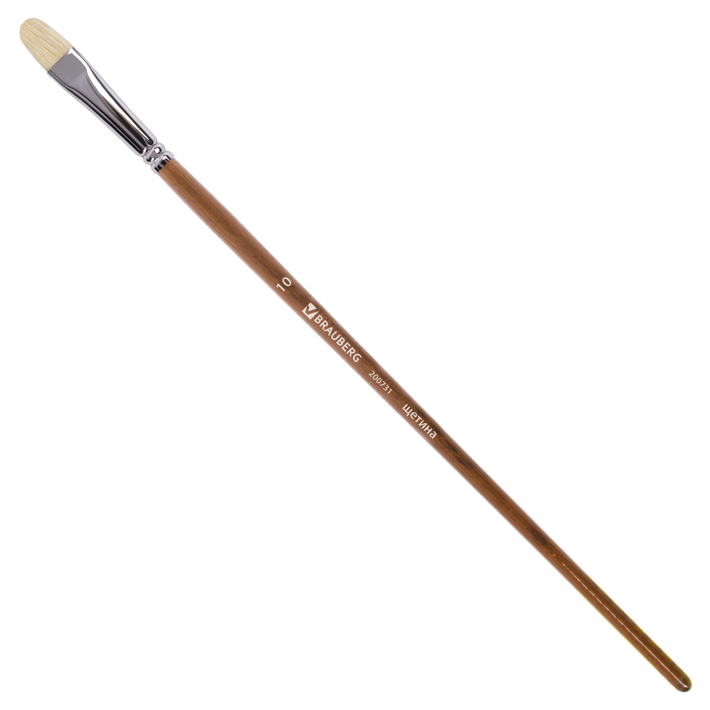 Кисть художественная профессиональная BRAUBERG ART CLASSIC, щетина, овальная, № 10, длинная ручка
