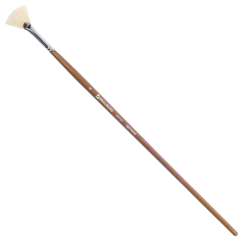 Кисть художественная профессиональная BRAUBERG ART CLASSIC, щетина, веерная, № 4, длинная ручка