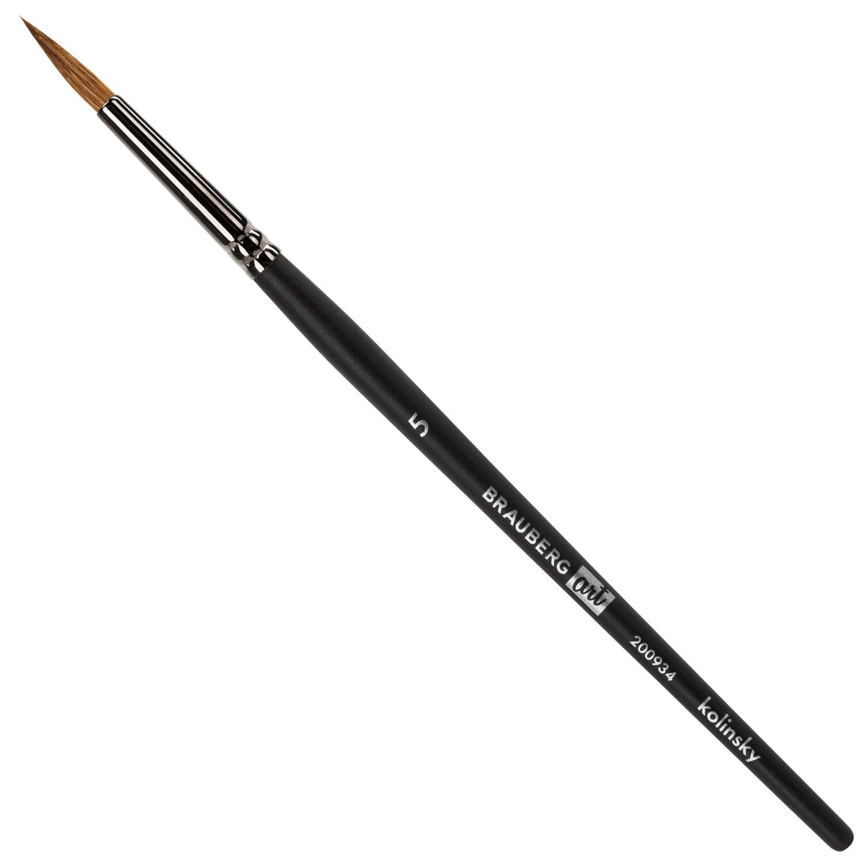 Кисть художественная проф. BRAUBERG ART CLASSIC, колонок, круглая, № 5, короткая ручка, 200934