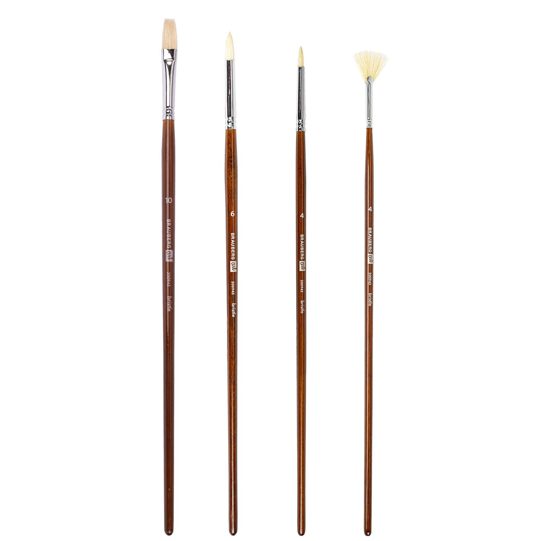 Кисти художественные BRAUBERG ART, набор 4 шт. (щетина круглая № 4, 6, плоская № 10, веерная № 4), 200945