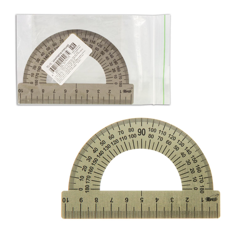 Транспортир 10 см, 180 градусов, металлический, ПЧЕЛКА, ТС-10