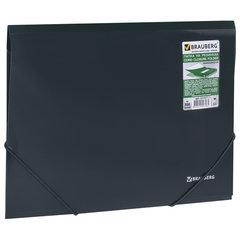 Папка на резинках BRAUBERG, диагональ, темно-зеленая, до 300 листов, 0,5 мм, 221337