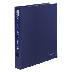 """Папка на 2 кольцах BRAUBERG """"Диагональ"""", 40 мм, темно-синяя, до 300 листов, 0,9 мм, 221348"""