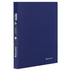 """Папка с металлическим скоросшивателем и внутренним карманом BRAUBERG """"Диагональ"""", темно-синяя, до 100 листов, 0,6 мм, 221352"""