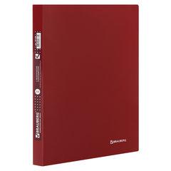 """Папка с металлическим скоросшивателем и внутренним карманом BRAUBERG """"Диагональ"""", темно-красная, до 100 листов, 0,6 мм, 221355"""