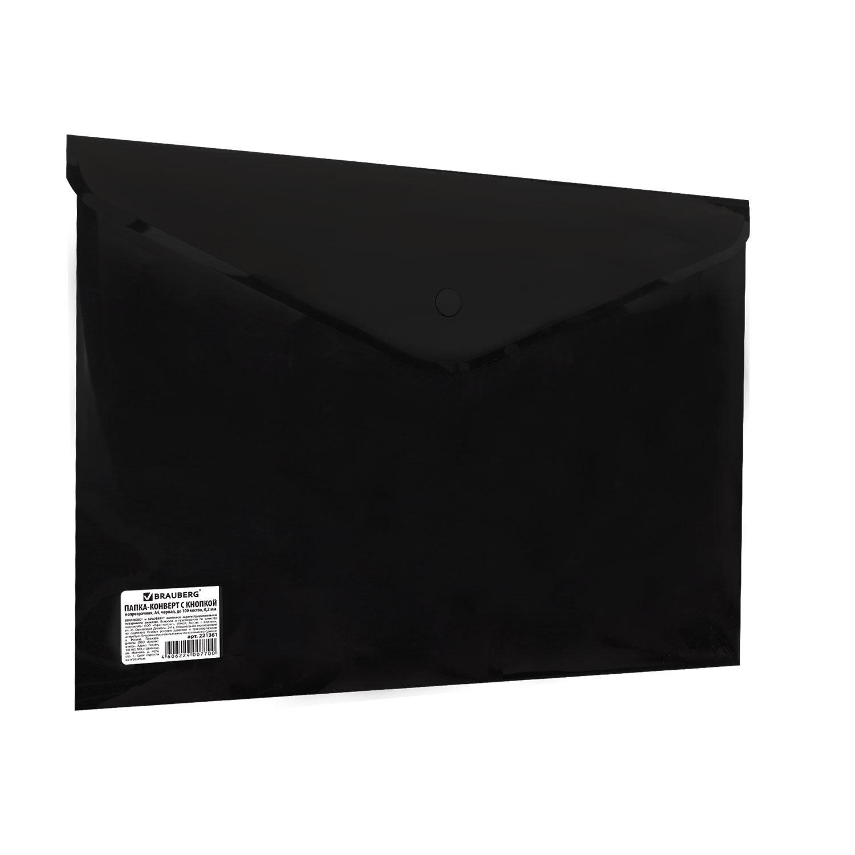 Папка-конверт с кнопкой BRAUBERG, А4, до 100 листов, непрозрачная, черная, СВЕРХПРОЧНАЯ 0,2 мм, 221361