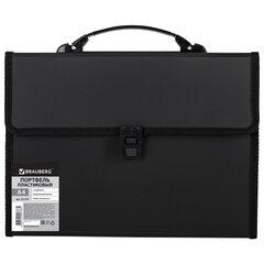 Папка-портфель пластиковая BRAUBERG А4 (332х245х35 мм), 13 отделений, черная, 221378