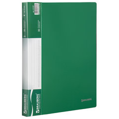 Папка 30 вкладышей BRAUBERG стандарт, зеленая, 0,6 мм, 221597