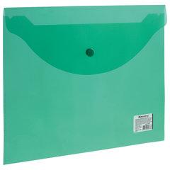 Папка-конверт с кнопкой BRAUBERG, А4, до 100 листов, прозрачная, зеленая, 0,15 мм, 221635