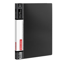 """Папка с боковым металлическим прижимом и внутренним карманом BRAUBERG """"Contract"""", черная, до 100 л., 0,7 мм, бизнес-класс, 221786"""