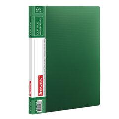 """Папка с боковым металлическим прижимом и внутренним карманом BRAUBERG """"Contract"""", зеленая, до 100 л., 0,7 мм, бизнес-класс, 221789"""
