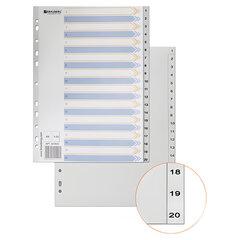 Разделитель пластиковый BRAUBERG, А4, 20 листов, цифровой 1-20, оглавление, серый, Китай, 221848