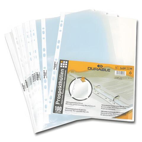 Папки-файлы перфорированные, А4, DURABLE (Германия), комплект 100 шт., матовые, 35 мкм, 2659-19