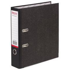 Папка-регистратор ОФИСНАЯ ПЛАНЕТА, усиленный корешок, мраморное покрытие, 80 мм, с уголком, черная, 221997