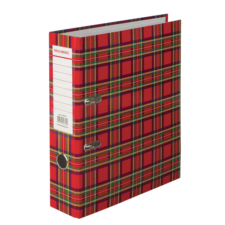 Папка-регистратор BRAUBERG, ламинированная, 75 мм, шотландка, 222074