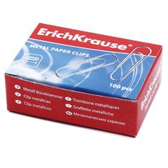 Скрепки ERICH KRAUSE, 28 мм, оцинкованные, 100 штук, в картонной коробке