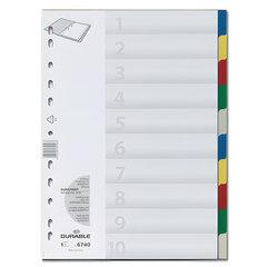 Разделитель пластиковый DURABLE (Германия), 10 листов, А4, цифровой 1-10, цветной, оглавление, 6740-27