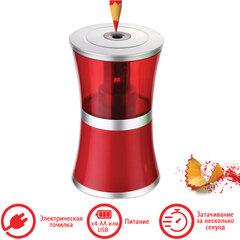 "Точилка электрическая BRAUBERG ""STYLE"", питание от USB/4 батареек АА, красная, 223568"