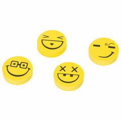 """Набор ластиков ПИФАГОР """"Смайлики"""", 4 шт., 24х24х6 мм, желто-черные, круглые, 223615"""