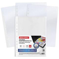 Папки-файлы перфорированные БОЛЬШОЙ ВМЕСТИМОСТИ до 200 листов, A4, КОМПЛЕКТ 5 шт., 180 мкм, BRAUBERG, 224315