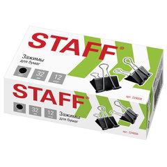 """Зажимы для бумаг STAFF """"EVERYDAY"""", КОМПЛЕКТ 12 шт., 32 мм, на 140 листов, черные, картонная коробка, 224608"""