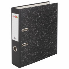 """Папка-регистратор STAFF """"EVERYDAY"""" с мраморным покрытием, 70 мм, без уголка, черный корешок, 224616"""