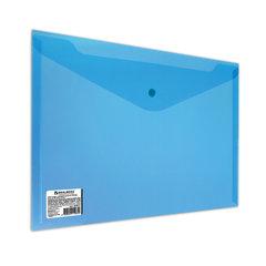 Папка-конверт с кнопкой BRAUBERG, А4, до 100 листов, прозрачная, синяя, СВЕРХПРОЧНАЯ 0,18 мм, 224813