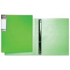 Папка на 4 кольцах HATBER HD, 25 мм, неоново-зеленая, до 120 листов, 0,9 мм, 4AB4 02034