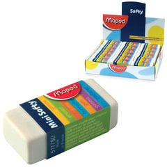 "Ластик MAPED (Франция) ""Softy Mini"", 39х18х12,5 мм, белый, прямоугольный, картонный держатель, 511780"